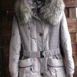 Пуховик натуральный зимний с капюшоном куртка нат.пух нат.мех р.42 XS S
