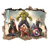 3D интерьерные виниловые наклейки на стены Халк, Тор,капитан Америка 70-50 см в детскую .Обои Марвел