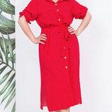 Платье XL на пуговицах штапель принт горох красный