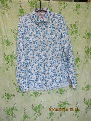 Стильная рубашка с оригинальным принтом малина/длинный рукав