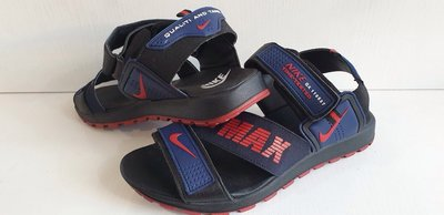 Сандалии мужские кожаные Nike Time Tested реплика синие с красным