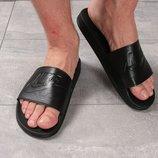 Шлепанцы кожаные мужские Nike, черные