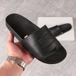 Шлепанцы мужские кожаные Levis черные