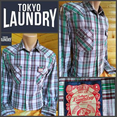 Стильная рубашка в клетку прямого кроя от Tokyo Laundry, оригинал, пр-во Бангладеш