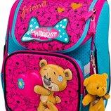 Ранец школьный рюкзак Winner 2019 детский с мишкой ортопедический для девочек фабричный