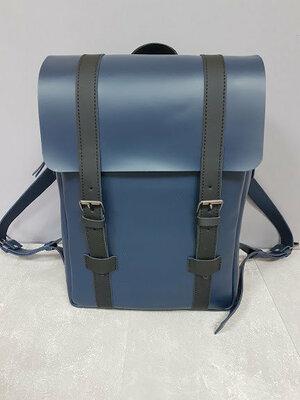 Рюкзак городской натуральная кожа синий 1607