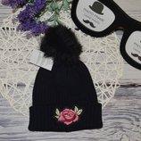 подростковая - женская Обалденная стильная шапка шапочка помпон нашивка
