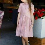Платье-Рубашка детское хлопковый лен, Размеры 134, 140, 146, 152.