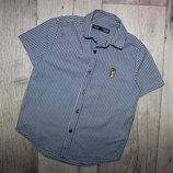 Нарядная шведка рубашка мелкая черно белая клетка некст Next 6 лет, рост 116 см.