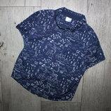Стильная шведка рубашка синяя узор надписи f&f 3-4 года, рост 98-104 см.