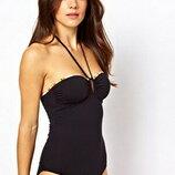 черный сдельный купальник бандо бюстье с завязкой на шее высокая талия посадка Zara