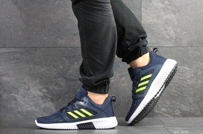 Adidas Climacool кроссовки мужские демисезонные темно синие с салатовым 8033