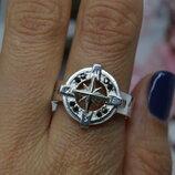 Серебряное кольцо, печатка, перстень, Компас, водителям, морякам, 925, 20,5р-р
