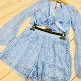 Красивые летний небесно-голубой кружевной комплект шорты топ и чокер nasny gal
