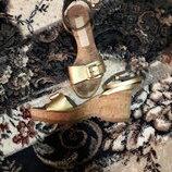 босоножки золото пробка кожа Stella McCartney