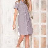 Красивое Хлопковое платье - рубашка с удлиненной спинкой 44-52р