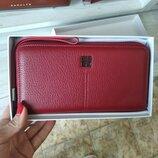 Кошелек кожаный женский на молнии темно красный Givenchy 6288