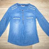 Рубашка туника джинсовая для девочки размер 116 летний коттон Gloria Jeans