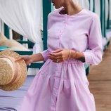 Платье рубашка на резинке коттон принт полоска красный голубой розовый