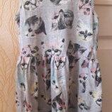 Стильное платье котики девочке 4-6 лет