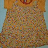 Оранжевое настроение,котоновое платье р-74/80 состояние нового