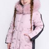 Детская двухцветная зимняя куртка X-Woyz 8277 для девочек Размеры 122- 158