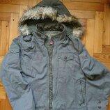 Джинсовая утепленная курточка с декоративной вышивкой цвет хаки р.44-46
