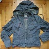 Джинсовая утепленная курточка с капюшоном цвет хаки р.42-44