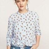 Стильная вискозная блуза- рубашка в птицы Mango Violetta 48-50