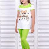 Коплект для девочек блуза с велотреками рост 92-122