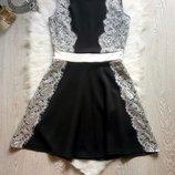 нарядное черное платье с белыми ажурными вставками гипюра и юбкой солнце клеш пышное