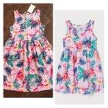 Красивейший летний сарафан h&m/платье нежно розовое с попугаем/122-128см 6-8 лет