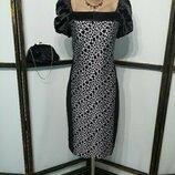 Платье миди бренд Condra коктейльное нарядное вырез каре пышный рукав леопардовый принт