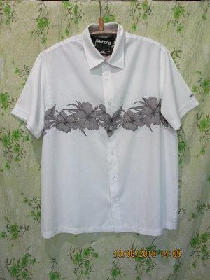 Стильная белая рубашка с цветами короткий рукав l xl