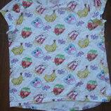 Фирменная h&m яркая футболка с шопкинсами девочке 7-9 лет хлопок идеал