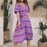Очаровательное летнее женское платье 589 Шифон Орнамент Клёш Миди в расцветках.