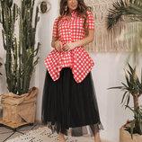 Женский стильный костюм с юбкой 594 Фатин Миди Баска Клеточка в расцветках.