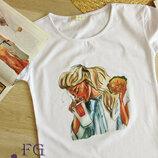 Белая футболка с ярким принтом разные варианты принта