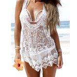 Красивая белая кружевная, ажурная женская, прозрачная майка, блузка Marks & Spencer