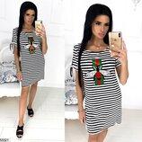 Женское летнее платье из мягкой ткани вискоза принт стрекоза скл.1 арт.55521