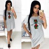 Женское летнее платье из мягкой ткани вискоза принт стрекоза скл.1 арт.55518