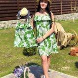 Family look платья для мамы и дочки рисунки разные ам 461