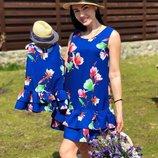 Family look платья для мамы и дочки разные цвета ам 464