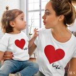 Family look одинаковые футболки для мамы и дочки ам 465