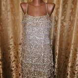 Красивое, блестящее женское короткое вечернее, коктейльное платье Mango