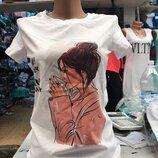 женская футболка с принтом разные рисунки у 512