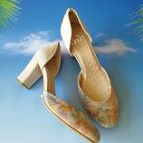 Шикарные туфли босоножки закрытый носок бежевые размер 37,5