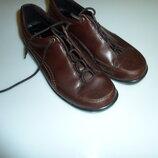 Кожаные туфли мокасины ботинки Ecco, р 39, стелька 25,5 см в идеале