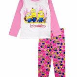 Хлопковая пижама с Миньонами для девочки р.98-128