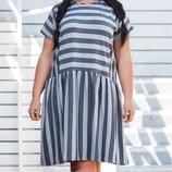 Платье XL с заниженной талией Турция вискоза принт полоска серый